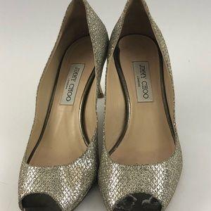 Jimmy Choo metallic peep toe heels sz 40 AS IS